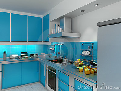 Turquoise kitchen stock image image 14659571 for Cuisine turquoise