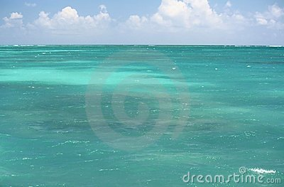 Turquoise ocean and blue sky