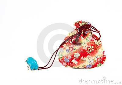 Turquoise  ring and Small red bag