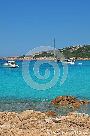 turquoise sea in costa smeralda sardinia italy royalty