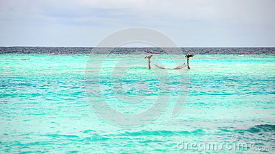 Turquoise sea in Maldives