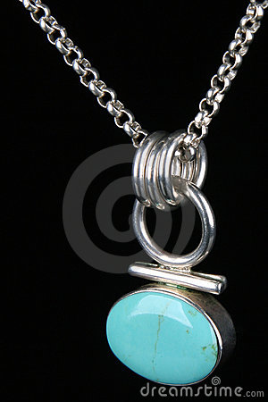 Turquoise  silver necklace isolated
