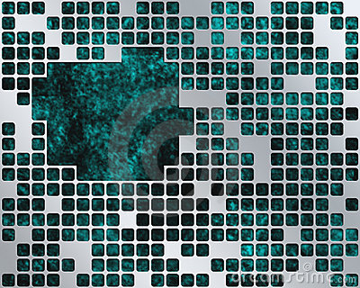 Turquoise Under Metal Grid, place for text