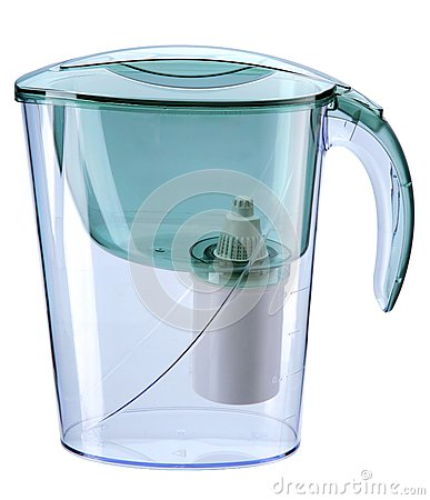 Turquoise water filtration pitcher with filter