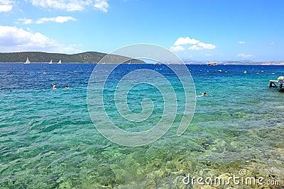 Turquoise water near beach on Mediterranean turkish resort