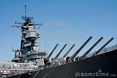 Turrets on navy battle ship