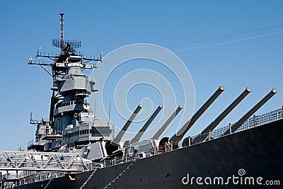 Turrets on navy battle ship
