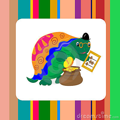 Turtle banker counting money card