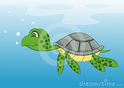 Turtle cartoon swimming