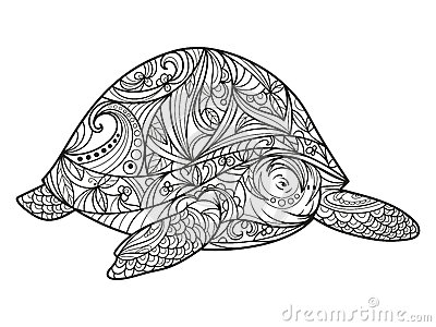 Turtle Coloring Book For Adults Vector Stock Vector
