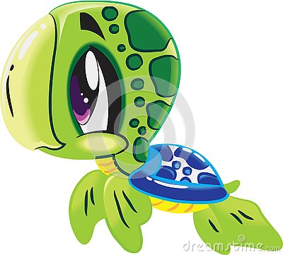 Turtle - Cute sea life cartoon collection under water animal characters Vector Illustration