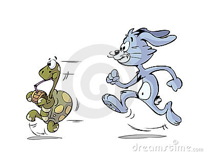 Turtle and hare running