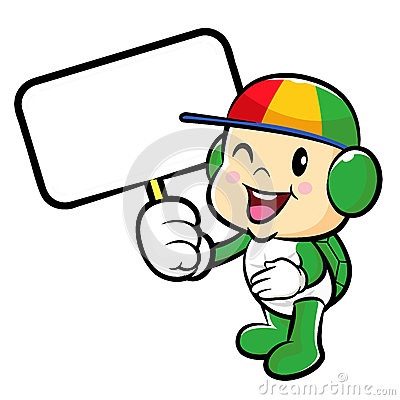 The Turtle mascot holding a board. Traffic and Road Character De