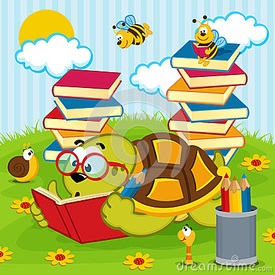 Free Turtle Reading Book Royalty Free Stock Images - 47442939