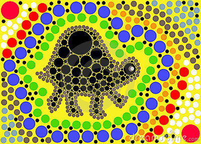 The turtles journey dot art