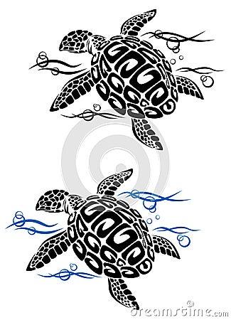 Turtle in sea water