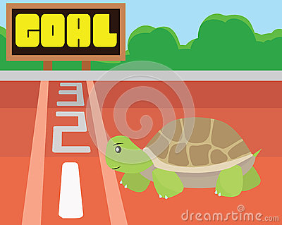 Turtle try to reach the goal by itself.Success and intention Concept