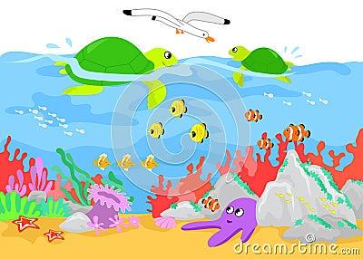 Turtles and marine life underwater