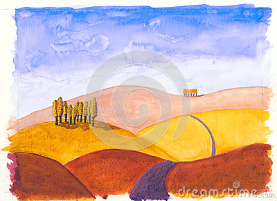 Tuscan rolling hills in Autumn Colour
