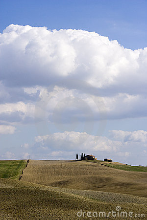 Tuscan Landscape, isolated farm