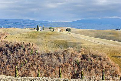 Tuscan landscape in winter, Val d Orcia (Italy).