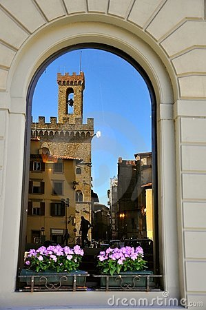 Tuscan window in Florence, Italy  Editorial Photo