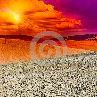 Free Tuscany At Sunset Royalty Free Stock Image - 53821326