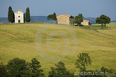TUSCANY countryside with cypress and farms