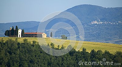 TUSCANY countryside with distant farms