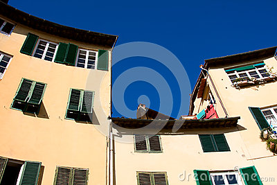 Tuscany. Old tenements in Lucca