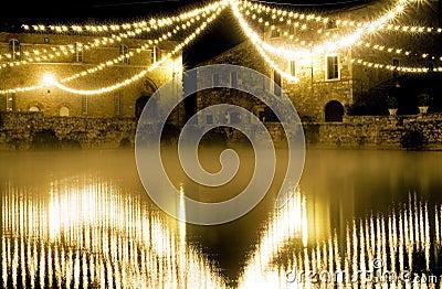 Tuscany therme at night,bagno Vignone