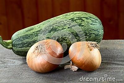 Tuétano vegetal y cebollas en un vector