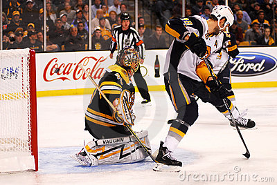 Tuukka Rask and Paul Gaustad Editorial Stock Photo