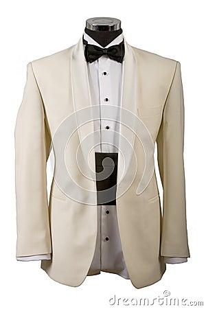 Tuxedo, white shirt and black bow tie