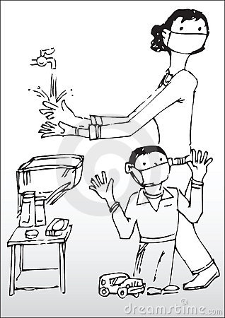 Tvättande händer för moder och för Son