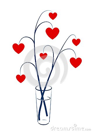 Två förgrena sig med hjärtor