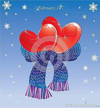 Två hjärtor conjuncted av den varma scarfen.