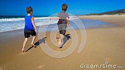 Två pojke- och hundspring och plaska i vatten på stranden arkivfilmer
