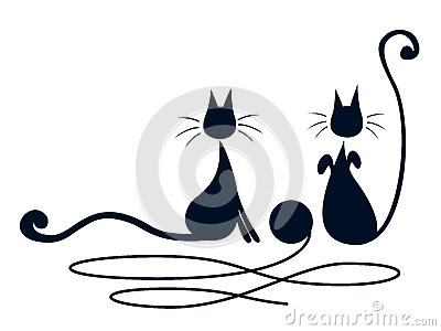 Två svart katter