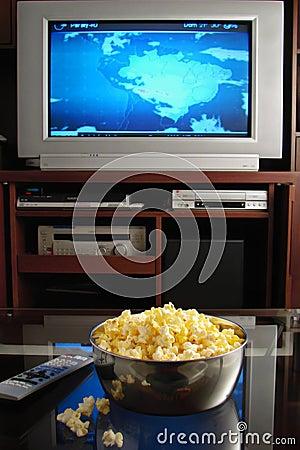 Free Tv And Popcorn Royalty Free Stock Photo - 3750645