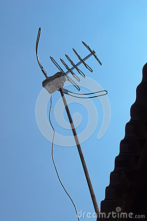 TV antenna on corrugated roof