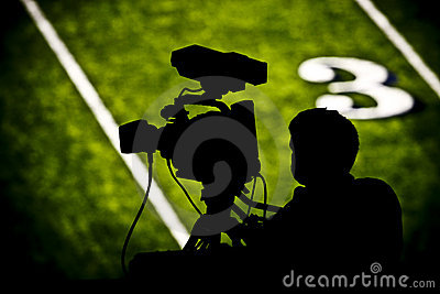 TV camera on football field