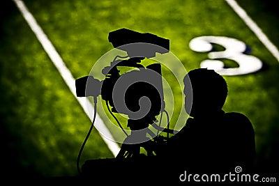 TV camera on football field