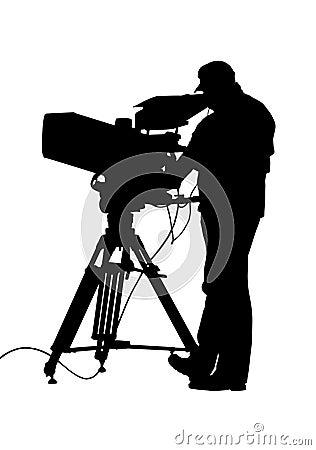 TV Camera and Operator Silhouette