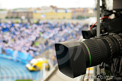 TV cameras at the stadium.