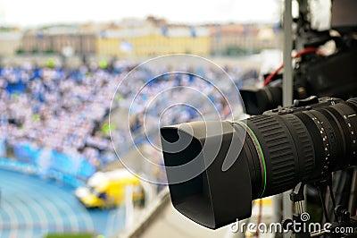 TV cameras at the stadium.