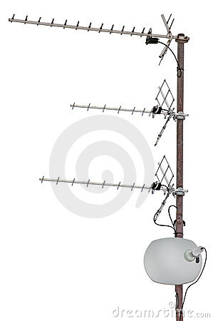Free TV Communication Aerials, Residential, Isolated Royalty Free Stock Images - 18201879