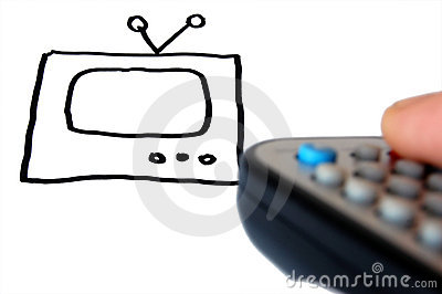TV drawing and remote control in hand .