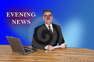TV Evening News Clown Anchor Man Reporter Newscast
