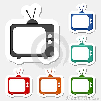 Tv icon sticker set Vector Illustration